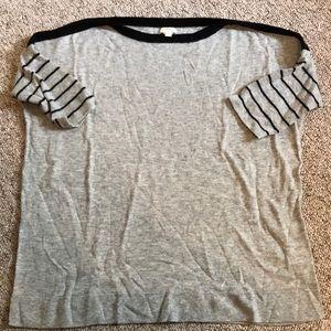 JCrew Grey Sweater w 3/4 Length Stripped Sleeves
